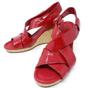 Cole Haan Air Dinah Red Strappy Wedge Sandals